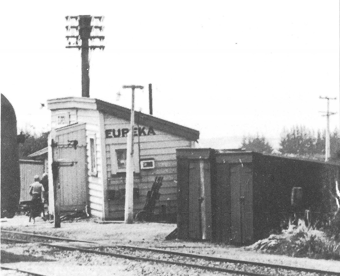 Eureka station as it was in 1956 looking from Hamilton